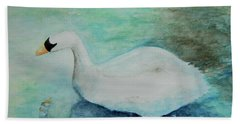 Hand Towel featuring the painting Swan Flight by Tamyra Crossley