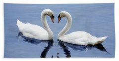 Swan Heart Hand Towel