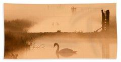 Swan In The Mist Hand Towel