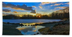 Swan Lake Sunset Bath Towel by Jeffrey Friedkin