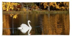Swan On A Lake Bath Towel