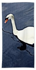 Hand Towel featuring the photograph Swan On The Rhine by Sarah Loft