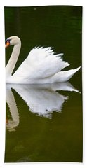 Swan Reflecting Bath Towel by Richard Bryce and Family