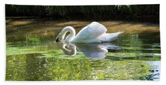 Swan Reflections, Rural England Bath Towel