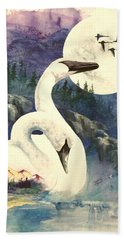 Hand Towel featuring the painting Swan Song by Sherry Shipley