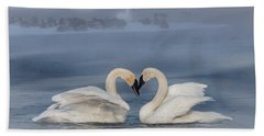 Swan Valentine - Blue Hand Towel by Patti Deters