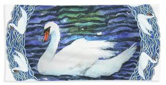 Hand Towel featuring the painting Swan With Knotted Border by Lise Winne