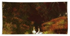 Swans In The Forest Bath Towel