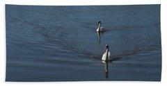 Swans On Deep Blue Bath Towel