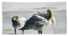 Swans On Ice Bath Towel