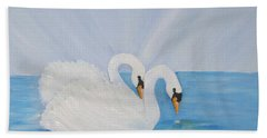 Swans On Open Water Hand Towel