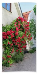 Swedish Town Visby, Famous For Its Roses Bath Towel