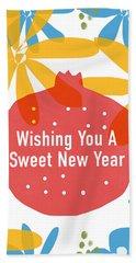 Sweet New Year Card- Art By Linda Woods Hand Towel