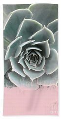 Sweet Pink Paint On Succulent Hand Towel