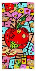 Sweet Popart Apple By Nico Bielow Bath Towel by Nico Bielow