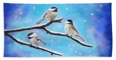 Bath Towel featuring the painting Sweetest Winter Birdies by Leslie Allen