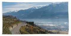 Swerving Road In Valtellina, Italy Hand Towel