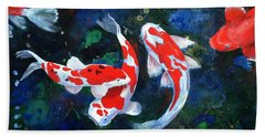 Swimming In Peace Hand Towel by T Fry-Green