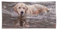 Swimming Puppy Hand Towel