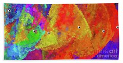 Swimming Rainbow Fish Abstract Bath Towel