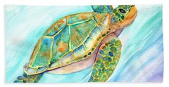 Swimming, Smiling Sea Turtle Bath Towel