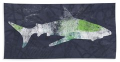 Swimming With Sharks 3- Art By Linda Woods Hand Towel