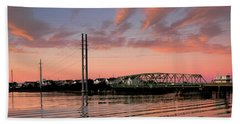 Swing Bridge At Sunset, Topsail Island, North Carolina Hand Towel