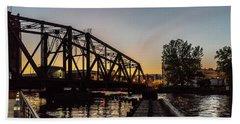 Swing Bridge Sunset Hand Towel by Randy Scherkenbach
