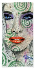 Bath Towel featuring the drawing Swirl Girl by P J Lewis