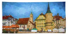Swiss Town Hand Towel by Pravine Chester