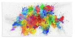Switzerland Paint Splashes Map Bath Towel