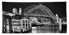 Sydney Harbour Bridge Black And White By Kaye Menner Hand Towel by Kaye Menner
