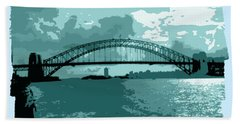 Sydney Harbour Fantasy In Blue Hand Towel by Leanne Seymour