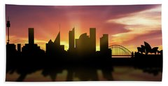 Sydney Skyline Sunset Ausy22 Hand Towel by Aged Pixel