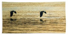 Synchronized Bald Eagles At Dawn 1 Of 2 Bath Towel by Jeff at JSJ Photography