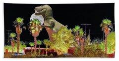T-rex In The Desert Night Bath Towel