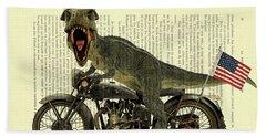 T Rex Riding His Harley, Dictionary Print Bath Towel