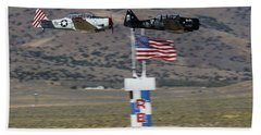 T6 Tango At Reno Air Races Home Pylon Finish Line Hand Towel
