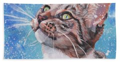 Tabby Cat In The Winter Hand Towel