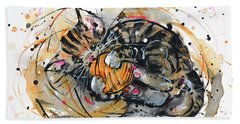 Bath Towel featuring the painting Tabby Kitten Playing With Yarn Clew  by Zaira Dzhaubaeva