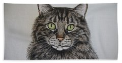 Tabby-lil' Bit Hand Towel by Megan Cohen