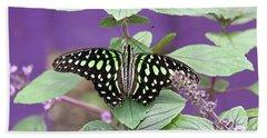 Tailed Jay Butterfly In Puple Bath Towel