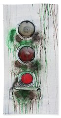 Bath Towel featuring the photograph Taillights On A Very Old Bus by Gary Slawsky