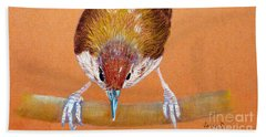 Bath Towel featuring the pastel Tailor Bird by Jasna Dragun