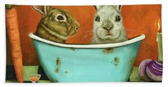 Bath Towel featuring the painting Tale Of Two Bunnies by Leah Saulnier The Painting Maniac