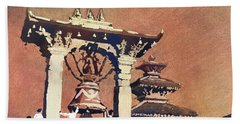 Bath Towel featuring the painting Taleju Bell- Patan, Nepal by Ryan Fox