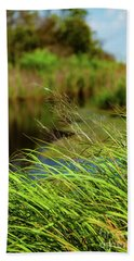 Tall Grass At Boat Dock Hand Towel