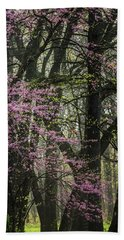 Tall Red Buds In Spring Bath Towel by Joni Eskridge