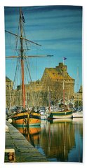 Tall Ship In Saint Malo Bath Towel