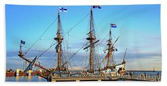 Tall Ship Kalmar Nyckel Hand Towel by Allan Levin